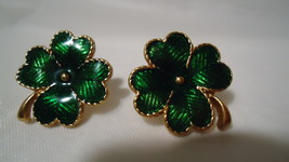 Vintage Avon Enamel Four Leaf Clover Earrings - $7.99