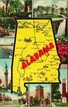 Vtg Curt teich linen postcard 1948-Alabama state map-ships - $4.95