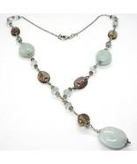 925 Silber Halskette, Aquamarin oval, Quarz Rauchglas Oval und Runde, An... - $201.44