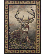 "2x8 (1'11""x7'4"") Runner Lodge Deer Cabin Rustic  Buck Antler Area Rug - £58.67 GBP"