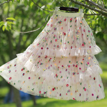 Champagne Tiered Tulle Skirt Outfit Floral Layered Tulle Skirt Princess Skirt image 8