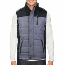 Holstark Men's Zip Up Multi Pocket Insulated Fleece Lined Two Tone Athletic Vest image 2
