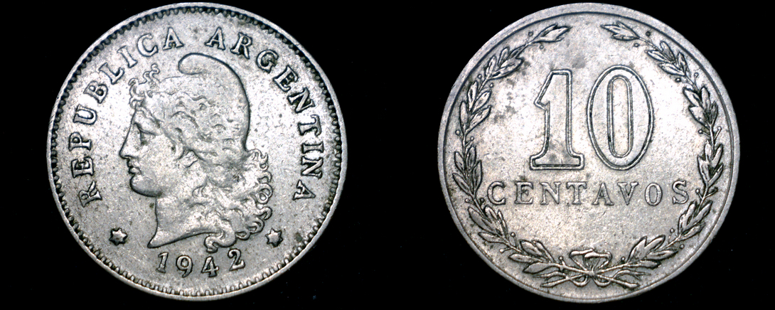 Primary image for 1942 Argentina 10 Centavo World Coin