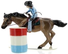 Hagen-Renaker Specialties Ceramic Horse Figurine Rodeo Barrel Racer with Barrel image 8