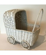 Wicker Baby Carriage White for Doll Bed Baby Shower Planter Flowers Towe... - $29.99