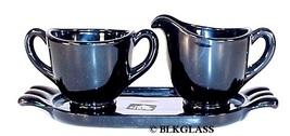 Viking Ebony Black Glass Creamer And Sugar And Tray With Labels, Mini Te... - $24.99