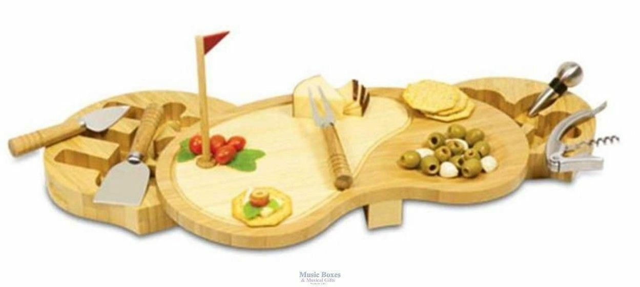 Deluxe Golf Course Cutting Board with Cheese and Wine Tools- GREAT GOLF GIFT