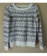 Ann Taylor Loft cable knit  gray cream sweater long sleeves Size Small - $14.65