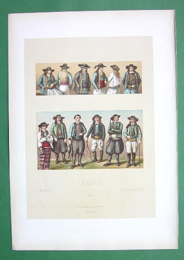 COSTUME of Peasants Brittany France - SUPERB Color Antique Print by A. Racinet