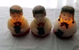 "Vintage Wax Carolers Lot Of 3 Girls 6.5"" High 2 Carolers Light Up Christmas - $24.75"