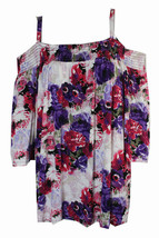 Top 1X Plus INC NWT Pink Multi Floral Cold Shoulder Peasant Blouse TM600 - $28.70