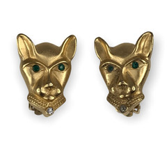 Vintage Gilded Panther Figural Earrings By Jackie Collins, 1980s - $64.34