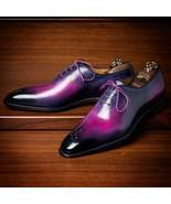 Men's Handmade Leather Purple Patina Oxfords, Custom men formal dress shoes - $178.19+