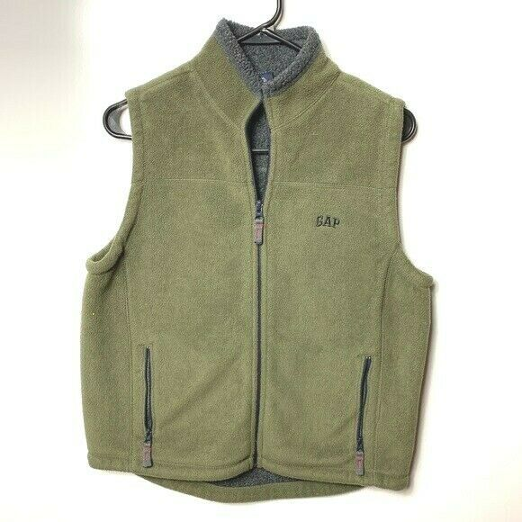 Gap fleece vest olive green gray kids boys XL 12 - $19.80