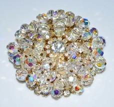 VTG JULIANA D&E Gold Tone Clear Rhinestone Dangle Crystal Flower Pin Brooch - $222.75