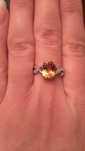 STERLING SILVER 2.0CT GENUINE YELLOW CITRINE & DIAMOND RING - SIZE 7 - £41.65 GBP