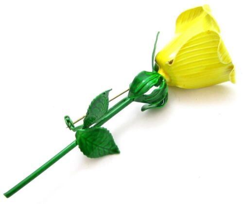 Faubulous Large Vintage 1950'S Yellow Green Enamel Flower Rose Pin Brooch*D713