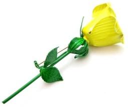 Faubulous Large Vintage 1950'S Yellow Green Enamel Flower Rose Pin Brooc... - $49.45