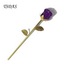 Handcraft Crystal Rose Flower Gift 24k Gold Rose Never Fade Holiday Decor - $21.00