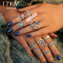 17KM® 15 pcs/set Vintage Big Stone Flower Knuckle Rings Set For Women An... - $4.42+