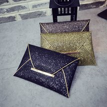 US Women Ladies Bridal Party Evening Prom Envelope Sequins Clutch Bag Handbag