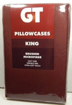 GT Pair Pillowcases King Size Chocolate Brushed Microfiber Wrinkle Free - $20.99