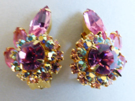Gold tone Aurora Borealis Pink Rhinestone round halo leaf floral clip Ea... - $38.61