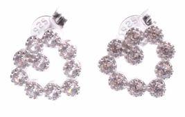 Dolce Vetra Stering Silver Open Cubic Zirconia Crystal Heart Stud Post Earrings image 3