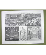 LIFE in Middle Ages Fireworks Jousting Court Ball etc - 1870s Engraving ... - $12.15