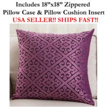 "18x18 18"" 18 inch PURPLE HARLEQUIN DIAMOND Zippered Throw Pillow Cushion... - $19.99"