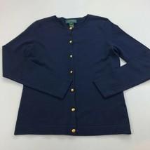 Lauren Ralph Lauren Cardigan Sweater Womens Small SP Blue Button Silk Bl... - $12.77 CAD