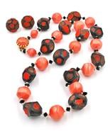 "Vintage Fall Pebble Orange Black Bead Necklace 27"" Strand Earrings Demi Set - $19.78"