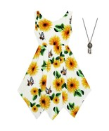 Girls Dress Sunflower Butterfly Hanky Hem Party Beach Necklace Sundress ... - $24.79