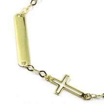"18K YELLOW GOLD KIDS BRACELET FLAT CROSS ENGRAVING PLATE, length 16.5 cm 6.5"" image 2"