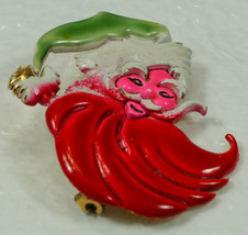 Vintage ART SANTA CLAUS PIN PSYCHEDELIC COLORS Hot Pink Face Red Beard G... - $39.99