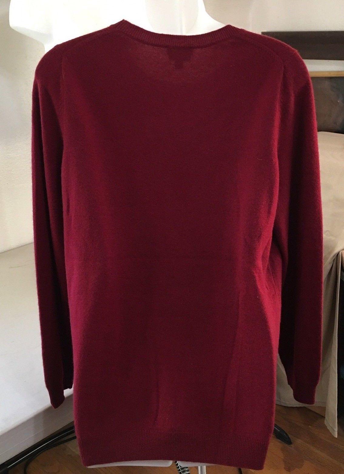 Talbots Pure Cashmere Women's X Crew Neck Sweater Deep Burgundy Wine C103 image 3