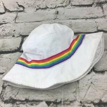Place Girls Sz M (7/8) Hat White Rainbow Banded Bucket Sun Cap  - $9.89