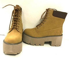 Qupid Women's Ankle Length Lace Up Boots Stack 01, Camel Nubuck PU, US 9 - $34.64