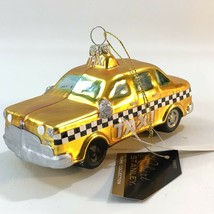 "Robert Stanley 2017 Blown Glass Christmas Ornament Yellow Taxi Cab 5"" - $14.50"