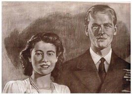 Princess Elizabeth Lt Philip Mountbatten Canadian Artist Reed 1947 Weston - $9.49