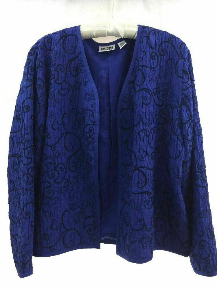 Primary image for Chico's Design Navy Blue 100% Silk Embroidered Dressy Open Style Jacket Top Sz 1