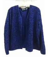 Chico's Design Navy Blue 100% Silk Embroidered Dressy Open Style Jacket ... - $31.99