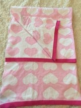 Circo Girls Pink White Hearts Knit Blanket 2 Sided Reversible - $141,82 MXN
