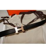 Hermes Mini Constance 24mm Rose Gold H Buckle Black Etoupe Leather 90cm NEW - $999.00