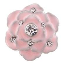 Pink Rhinestone Enamel Flower 20mm Snap Button Charm For Ginger Snaps  J... - $6.19
