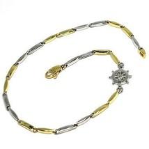 Armband Gelbgold Weiß 18K 750, Tube Abwechselnde, Ruder Seefahrt - $383.26
