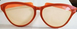 Orange Giant Fun Plastic Party Glasses, Orange Lens w Stars Front of Frame - $4.95