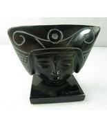 VINTAGE BLACK ONYX OBSIDIAN AZTEC MAYAN HEAD INCA FACE MASK FIGURE PAPER... - $35.00