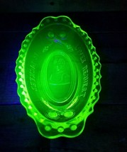 Imperial Glass Yellow Vaseline Opalescent Loves Request Is Pickles Servi... - $39.55