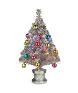 National CHRISTMAS TREE 2.6 ft. Silver Fiber Optic Fireworks Ornament - $49.49